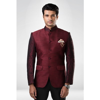 Maroon and Black Textured Bandhgala