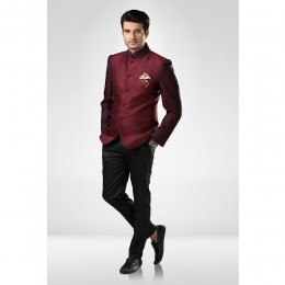 Maroon and Black Textured Bandhgala