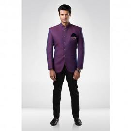 Purple Textured Bandhgala