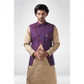 Purple A-Symmetric Nehru Jacket with Golden Butti Kurta