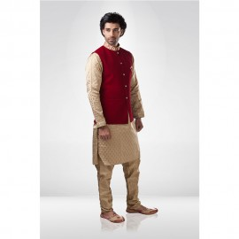 Red Velvet Bandi With Golden Butti Kurta And Chudidar.