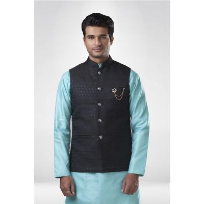 Black Brocade Nehru Jacket with Aqua Blue Kurta