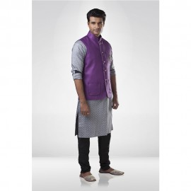 Purple Jute Nehru Jacket