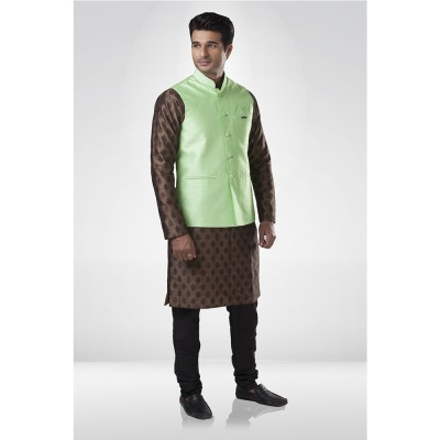 Pista Green Silk Nehru Jacket with Brown Butti kurta