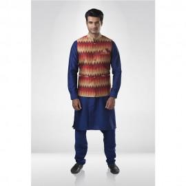 Brocade Multi color  Nehru Jacket with Blue Silk Kurta