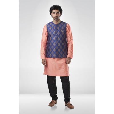 Blue Brocade Nehru Jacket with Peach Silk Kurta