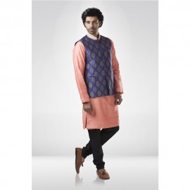 Blue Brocade Nehru Jacket with Peach Silk Kurta