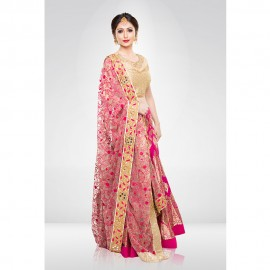 Pink Banasi Silk Lehenga Set With A Net Dupatta