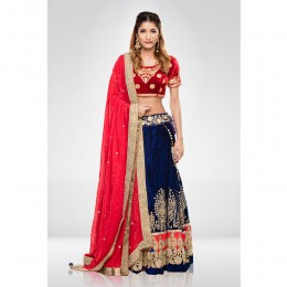 Red & Blue  Embroidered Lehenga Set With A Georgette Dupatta