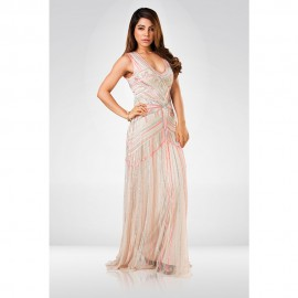 Peach & Neon Pink Sequence Gown