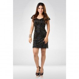 Black & Golden  Sequin Party Dress