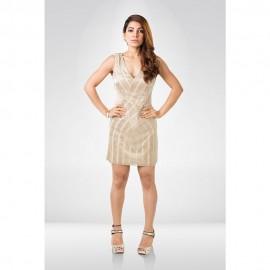 Beige Sequin Party Dress