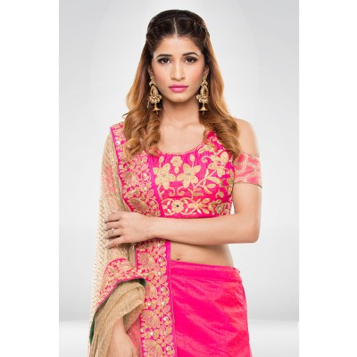 Pink Embroidered Lehenga Set With A Net Dupatta