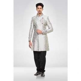 Grey Brocade Sherwani