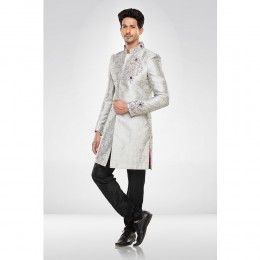 Grey Brocade Sherwani