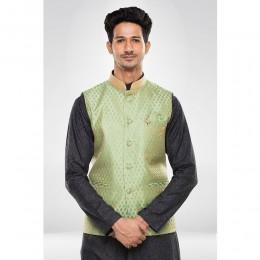 Pista Green Brocade Nehru Jacket