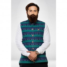 Denim Printed Nehru Jacket