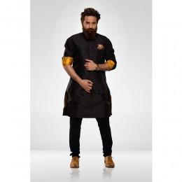 Black Silk Nehru Jacket with Black Silk kurta