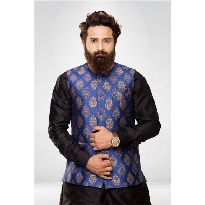 Blue Brocade Nehru Jacket with Black Silk kurta