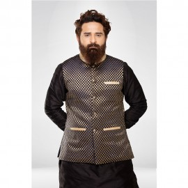 Navy Blue Brocade Nehru Jacket