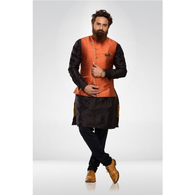 Orange Silk Nehru Jacket