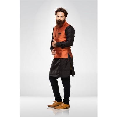 Orange Silk Nehru Jacket