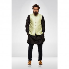 Pista Green Silk Nehru Jacket