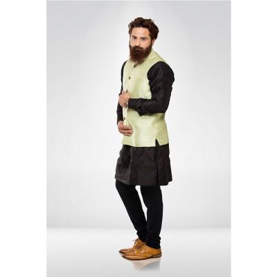 Pista Green Silk Nehru Jacket