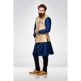 Golden Embroidered Nehru Jacket with Blue kurta