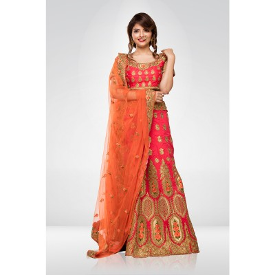 Orange Embroidered Lehenga Set With A Net Dupatta