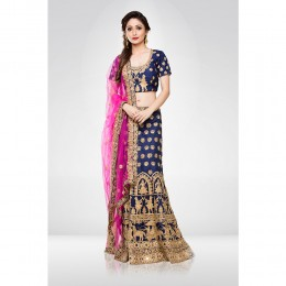 Navy Blue Embroidered Lehenga Set With A Net Dupatta