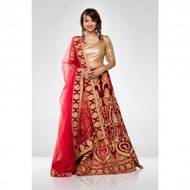 Red velvet Embroidered Lehenga Set With A Net Dupatta