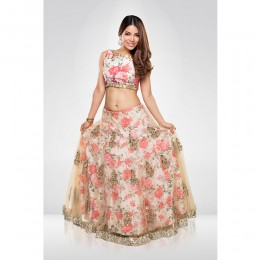Floral Print  Embroidered Lehenga Set With A Georgette Dupatta