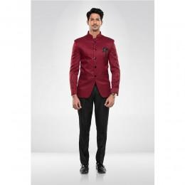 Maroon Textured Bandhgala