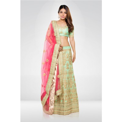 Mint Green Embroidered Lehenga Set With A Net Dupatta
