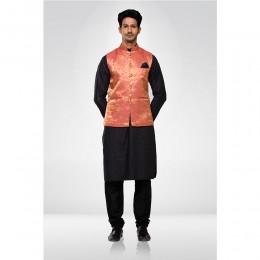 Peach Brocade Nehru Jacket with Black Kurta