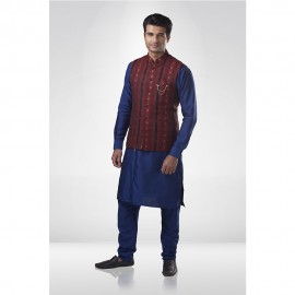 Red & Black Brocade Bandi With Blue Kurta Chudidar