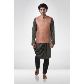 Peach Brocade Nehru Jacket with Cowl Kurta