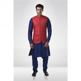 Red Jute Nehru Jacket with Blue Silk  Kurta