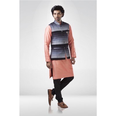 Shaded Grey Nehru Jacket with Peach Silk  Kurta