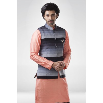 Shaded Grey Nehru Jacket with Peach Silk  Kurta