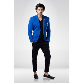 Deep Blue Textured Blazer