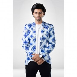 White & blue printed  Jacket/blazer