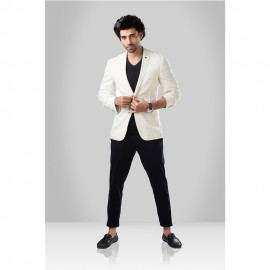 Beige Single-Breasted Casual Blazer