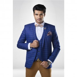 Blue checkered  suit