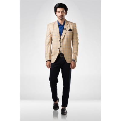 Beige Checkered Suit
