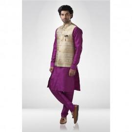Golden Textured Brocade Nehru Jacket