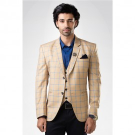 Beige Checkered Suit