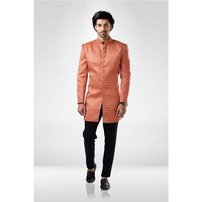 Peach Neon Textured Sherwani